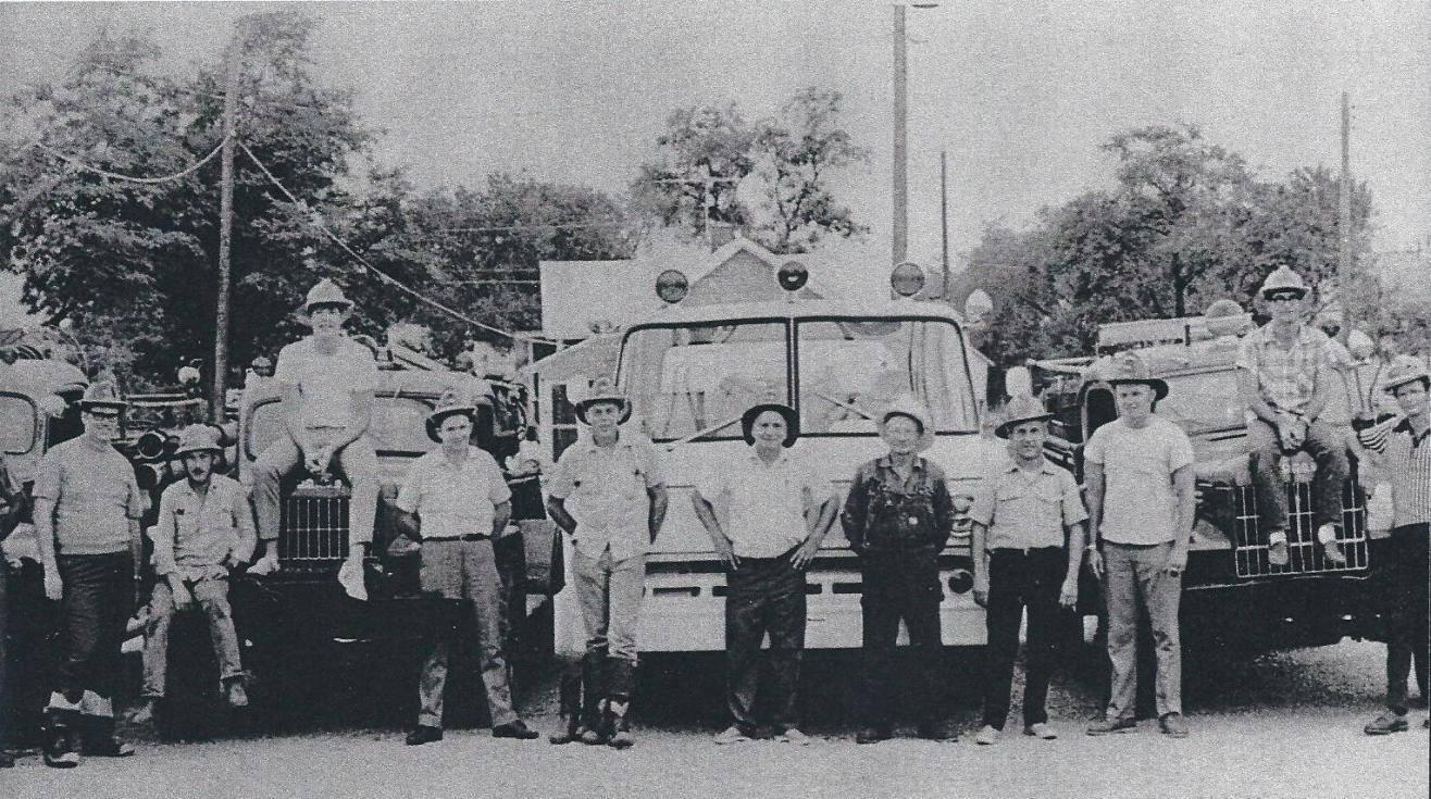 Owasso Volunteer Fire Department 1972. Chief Worley - Ass't Cramer - Mayor Ross