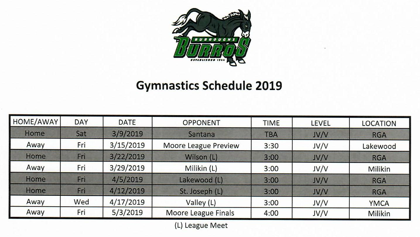 BHS Gymnastics has FOUR HOME MEETS in 2019 @ Ridgecrest Gymnastics Academy! Please come and support our High School and this wonderful group of athletes!!!