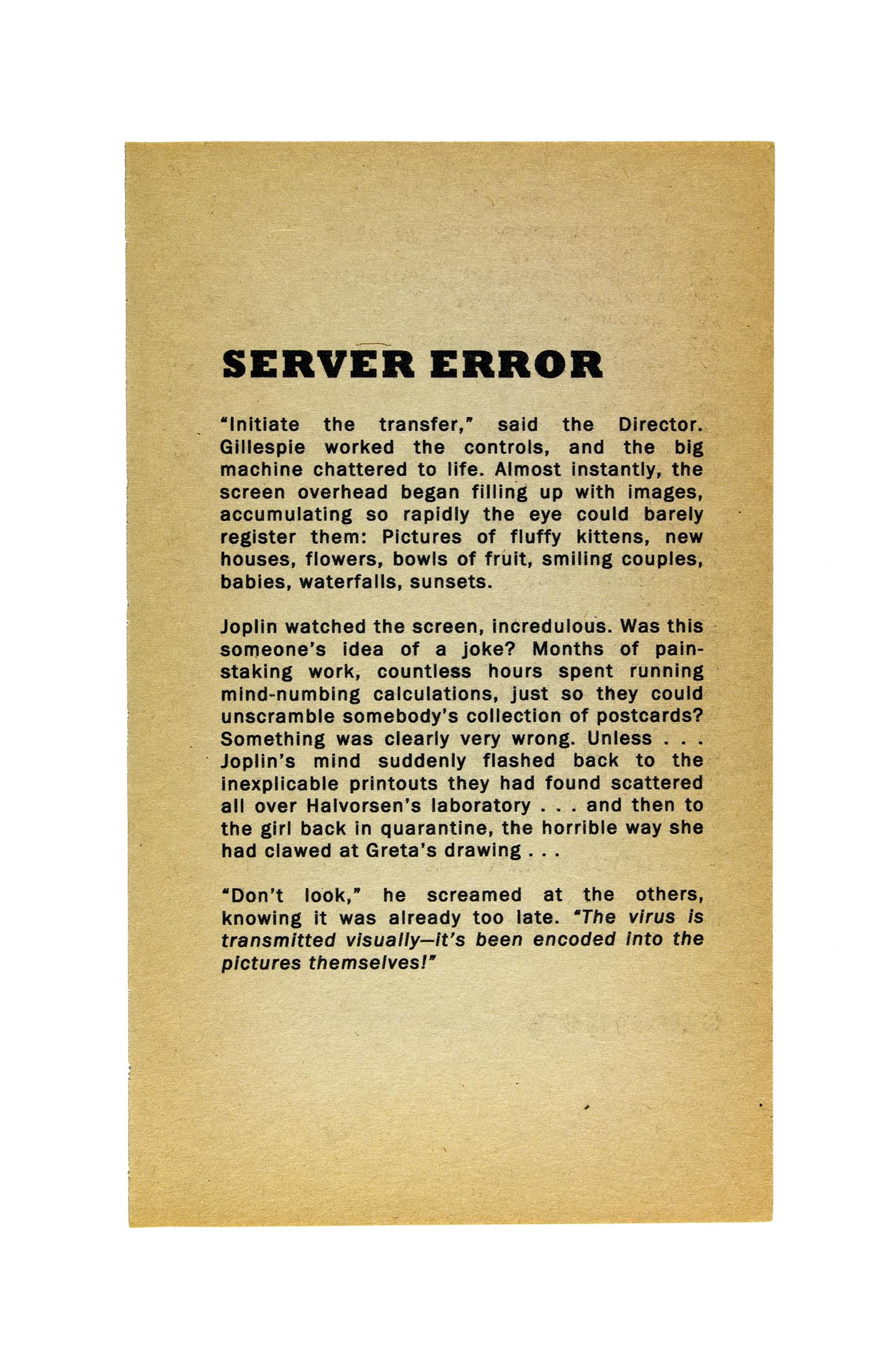 Server Error , 2012. Inkjet on found paper
