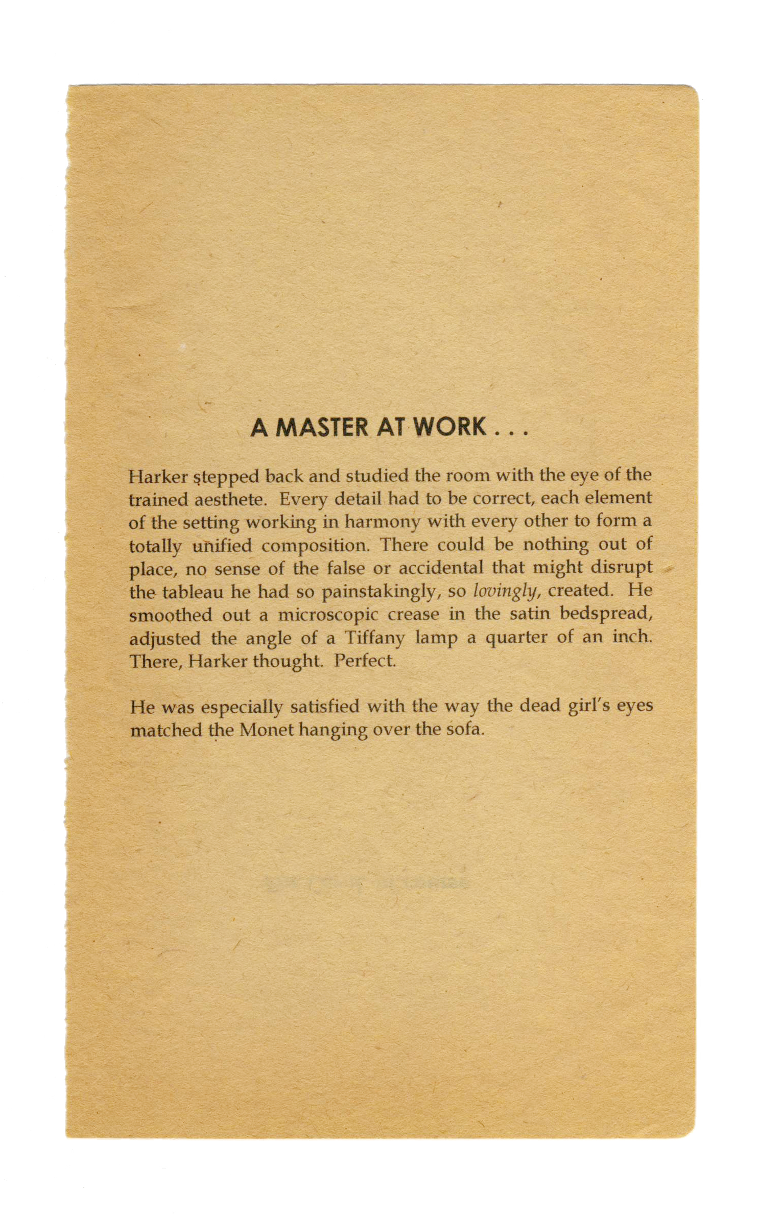 A Master at Work , 2012. Inkjet on found paper