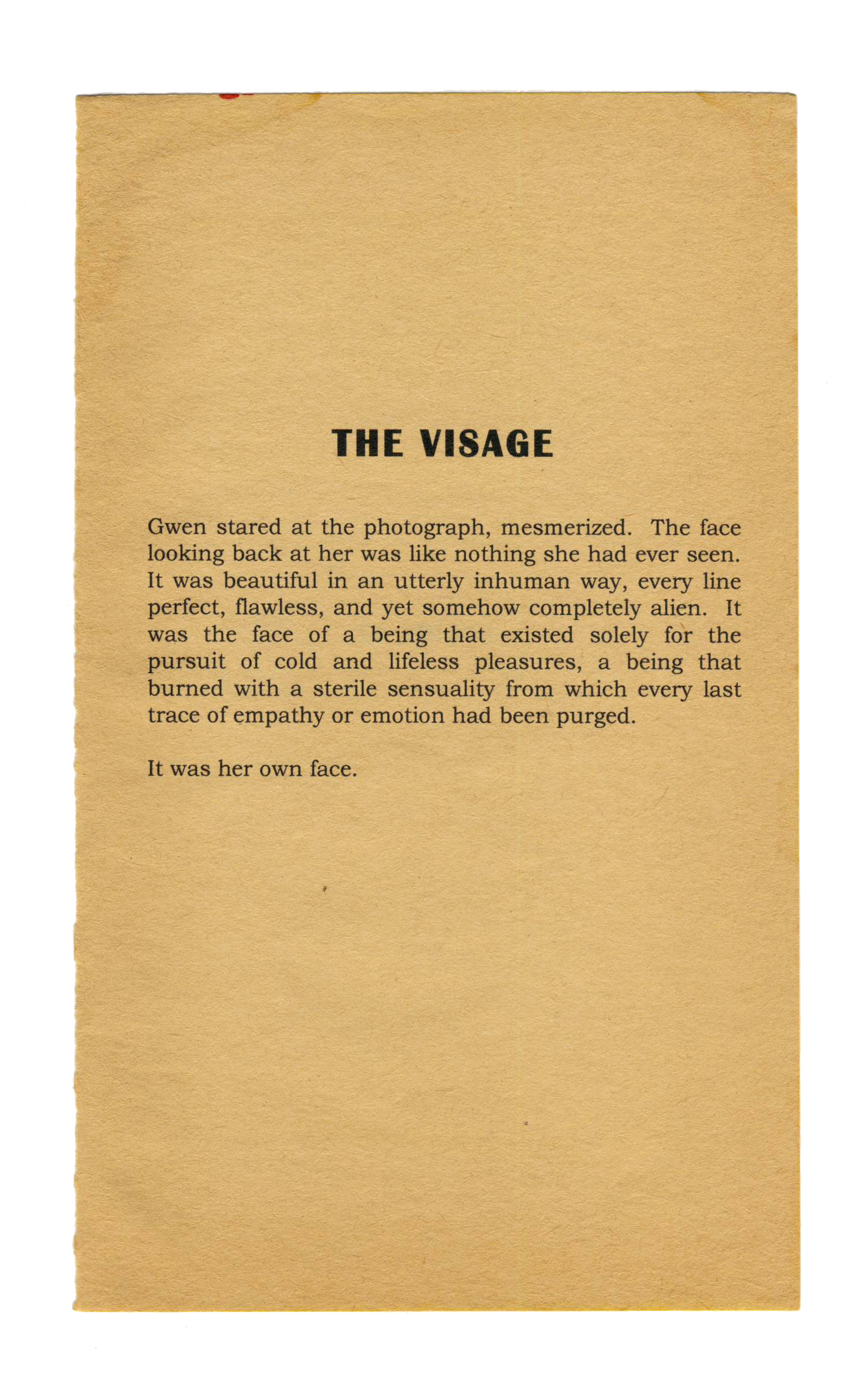 The Visage , 2012. Inkjet on found paper