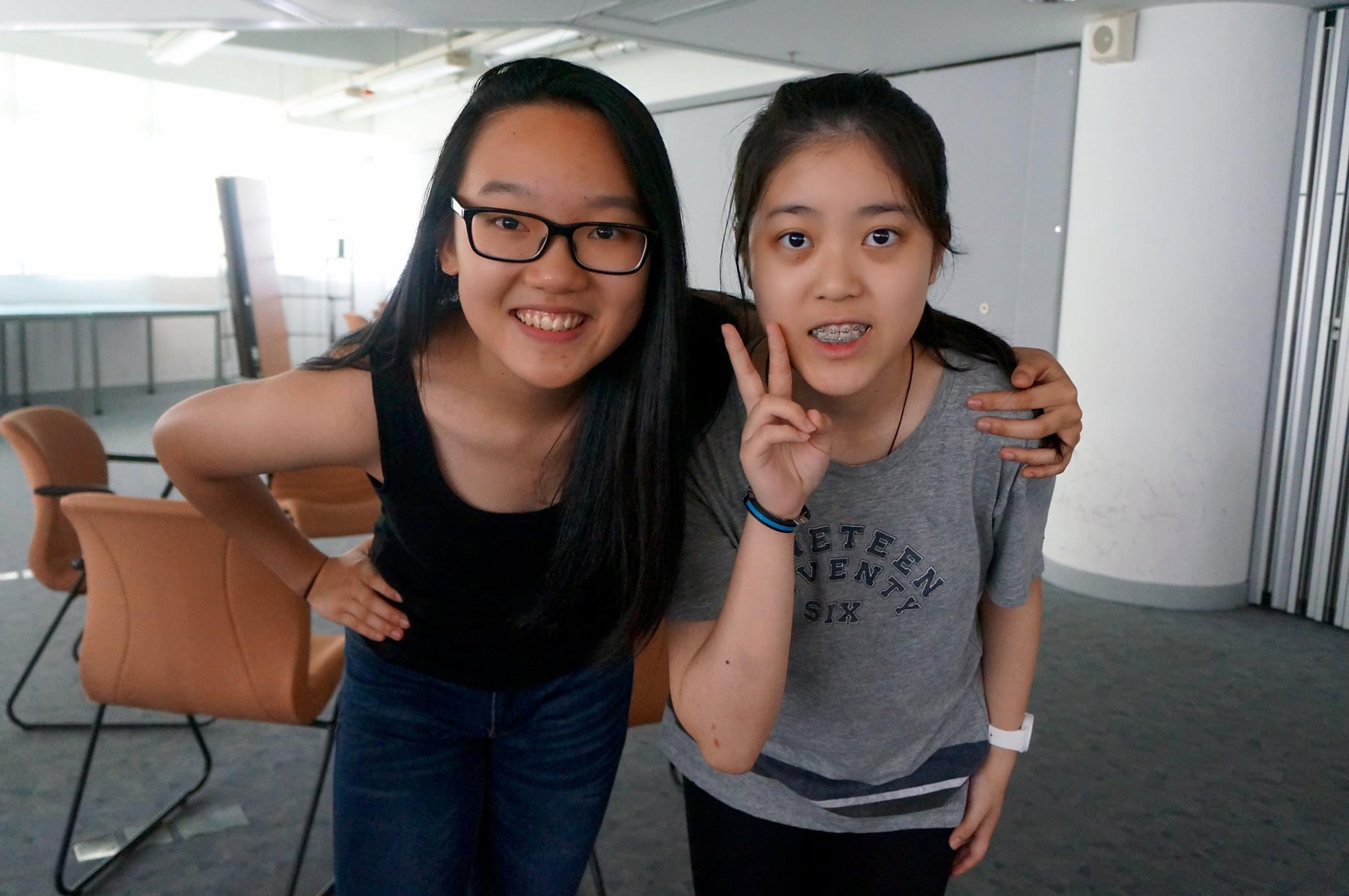 Vicky (left) and Cassandra (right) were partners during the IGNIS HK Summer Workshop 2016.