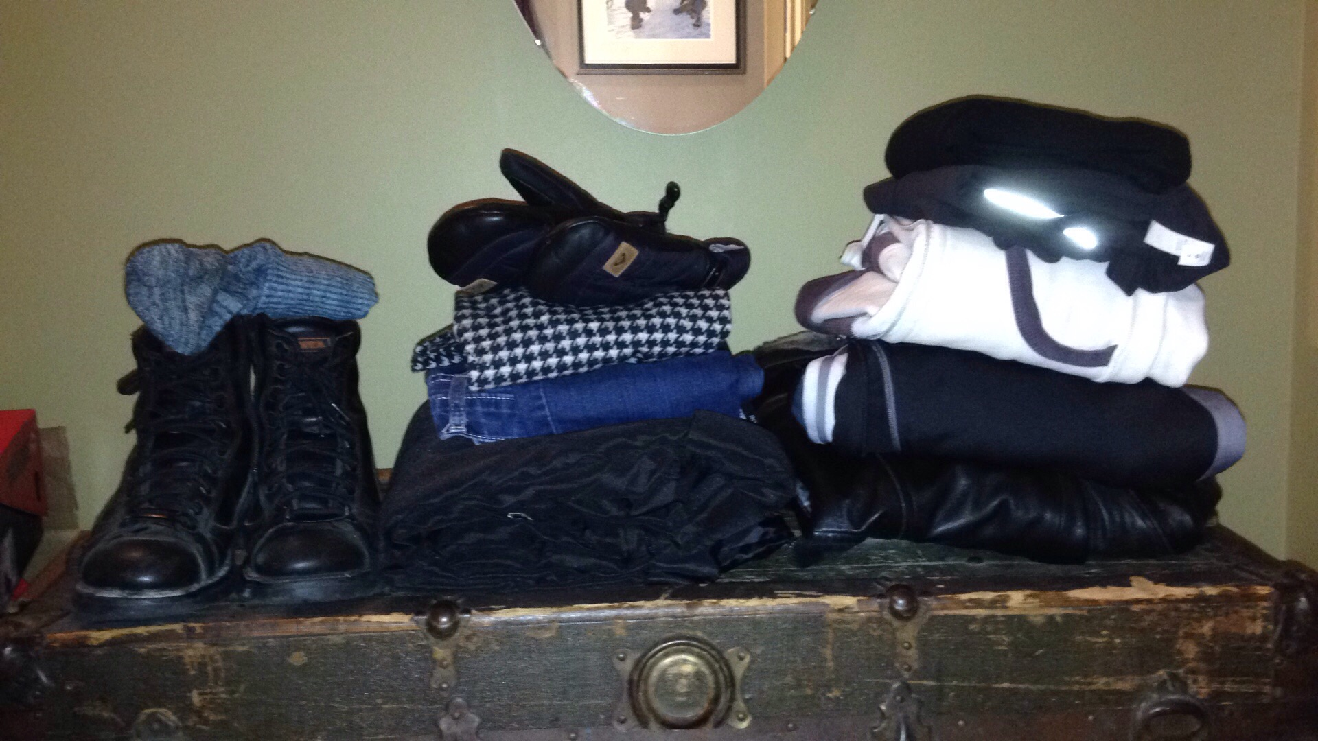 This is all the clothing I had on, I may have gotten a little carried away,....