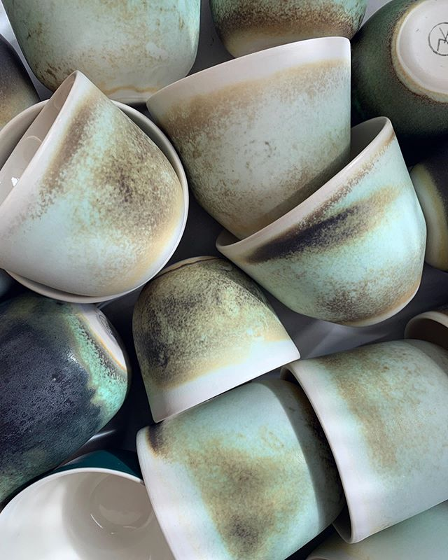 We have big selection of Rusty Turquoise cups available at our shop. Grab them when they still hot! 🔥❤️ #handmade #coffee #cup #coffeecup #coffeelover #minimalism #ceramics #studio #kitchen #gastronomy #porcelain #cph #denmark #nordic #scandinaviandesign #design #art #naturelover #green