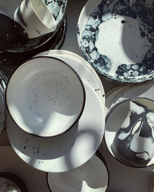 Soon I will pack and ship them far, far away. Big set of plates will fly through the ocean. Some lucky chef hopefully will be happy to use them everyday in his new restaurant 🍽 🌟🌊☀️ How do you like them? #handmade #porcelain #minimalism #blackandwhite #gastronomy #restaurant #plates #coffeecup #denmark #cph #ceramics #ceramicstudio #shop #art #chef #keramik