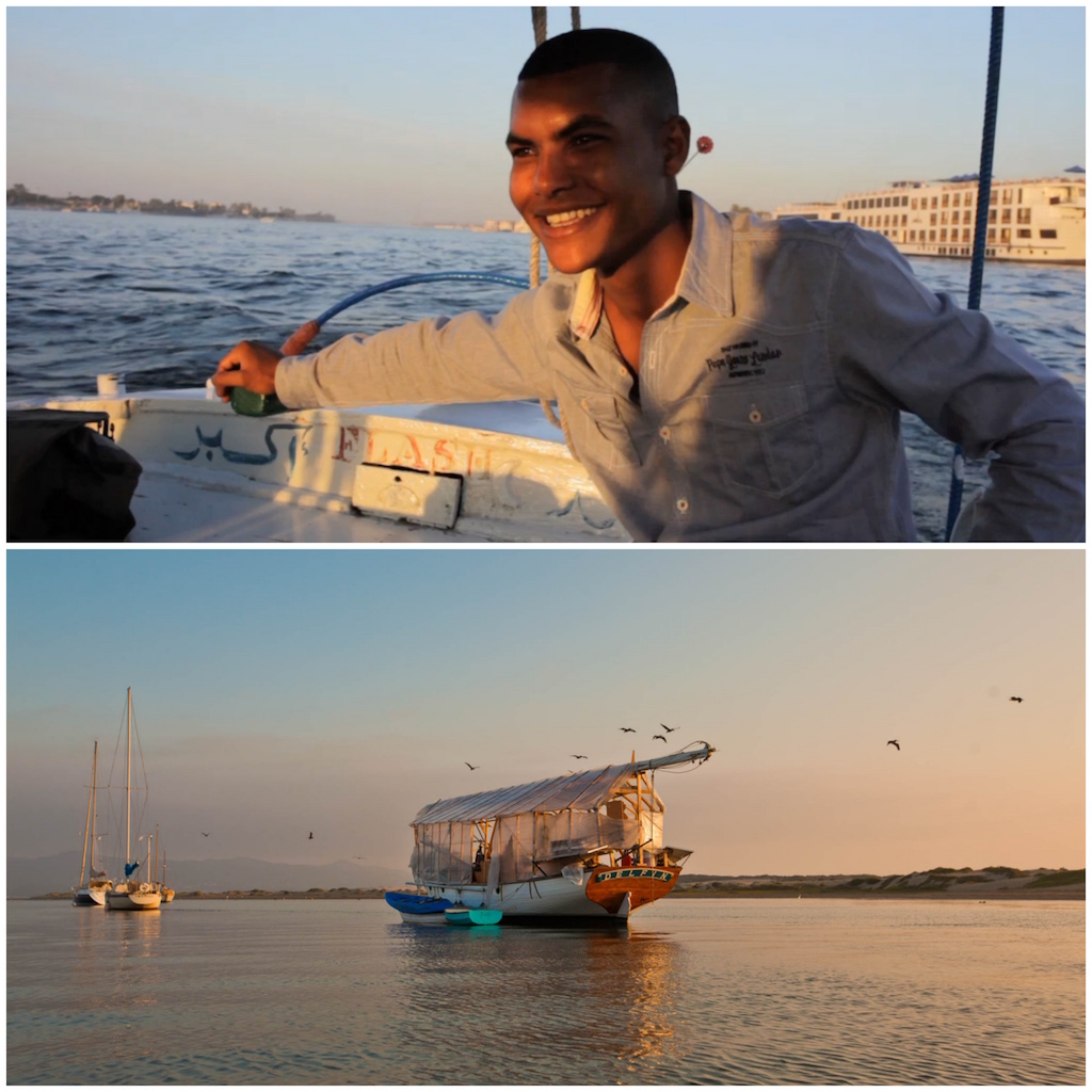 "One of Nathan's favorite times in Egypt was spending time on  Rajah's   felucca as the sun set over the Nile . He was such a sincere and gentle guy - and was touched by the way he talked about the Nile, and his boat, and fishing and the advantages of taking it slow while traveling on the river. As we slipped past the big riverboat hotels and rode the wakes of the motorboats speeding past us I could imagine that he was part of a tradition that stretches back thousands of years - and that the fundamental technology, sailing, hasn't changed too much in all that time. As we parted, Rajah made us reach our hands into the river to ""touch the Nile"", thus ensuring that we would return one day."