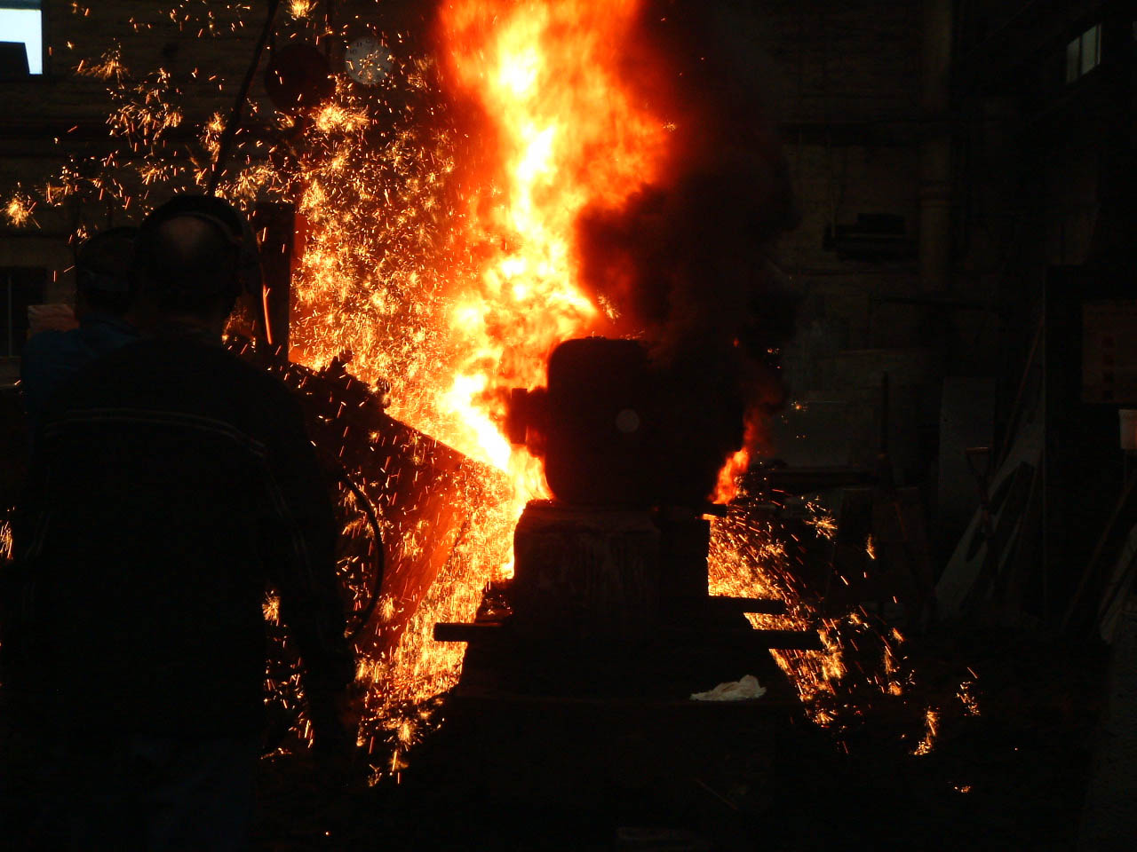 Iron being poured at H Downs and Sons foundry in Huddersfield