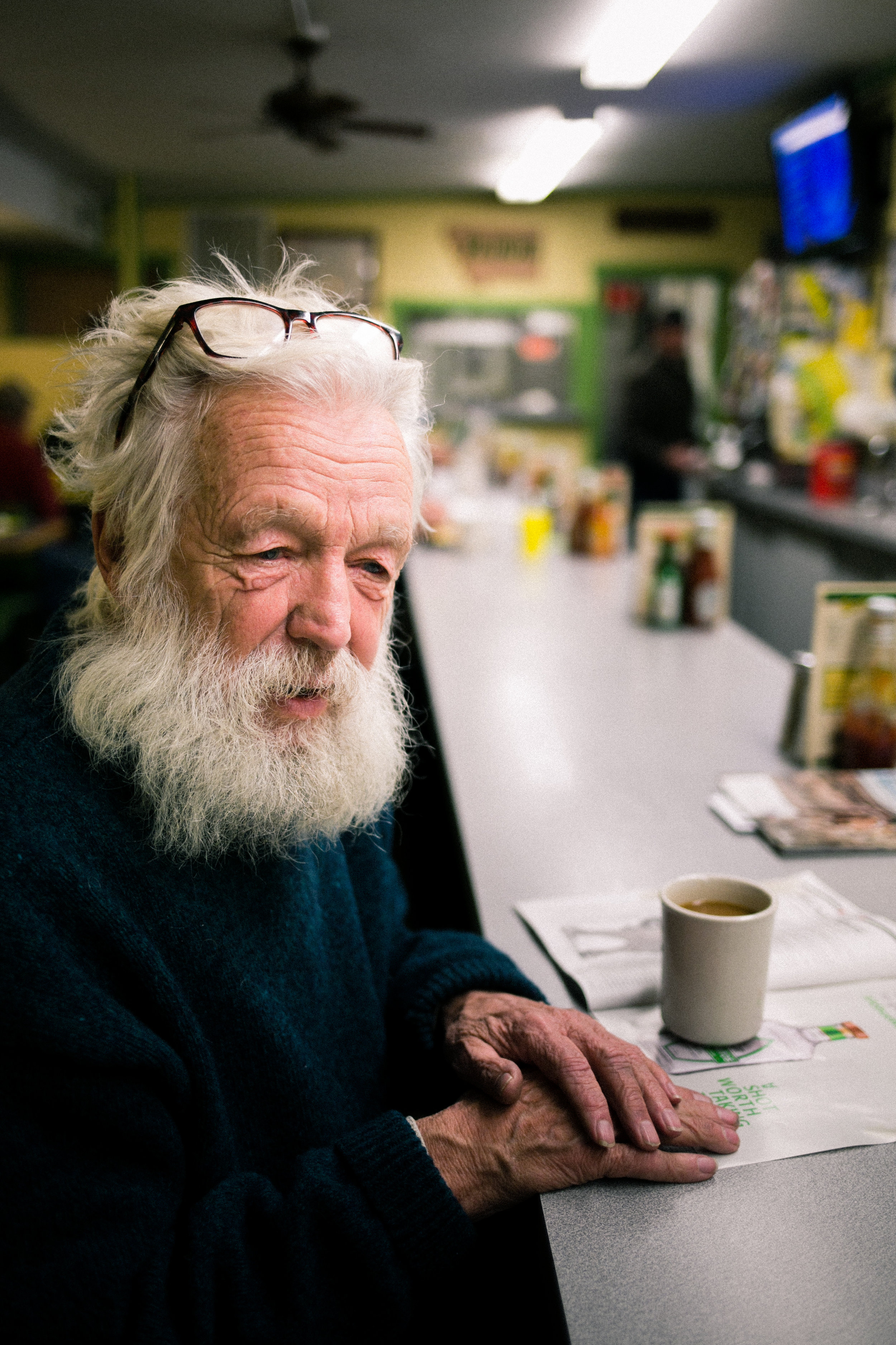 Candid portrait of customer at a diner taken in Red Lodge, Montana.