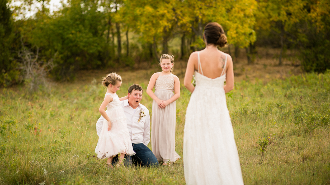 First look on wedding day in Montana.
