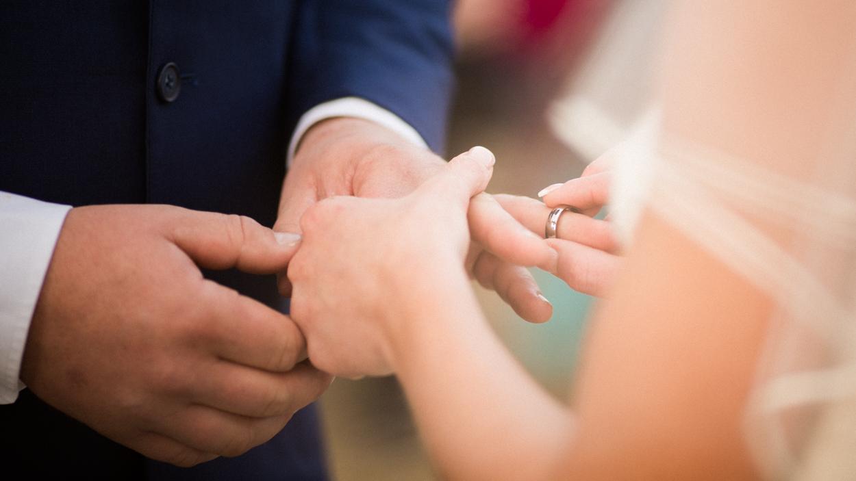 Close up shot of wedding ring.
