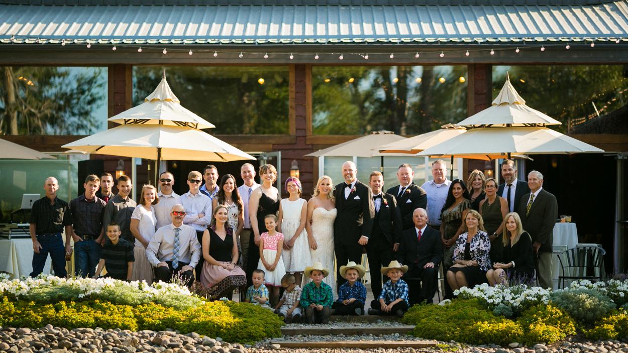 Family photo on wedding day