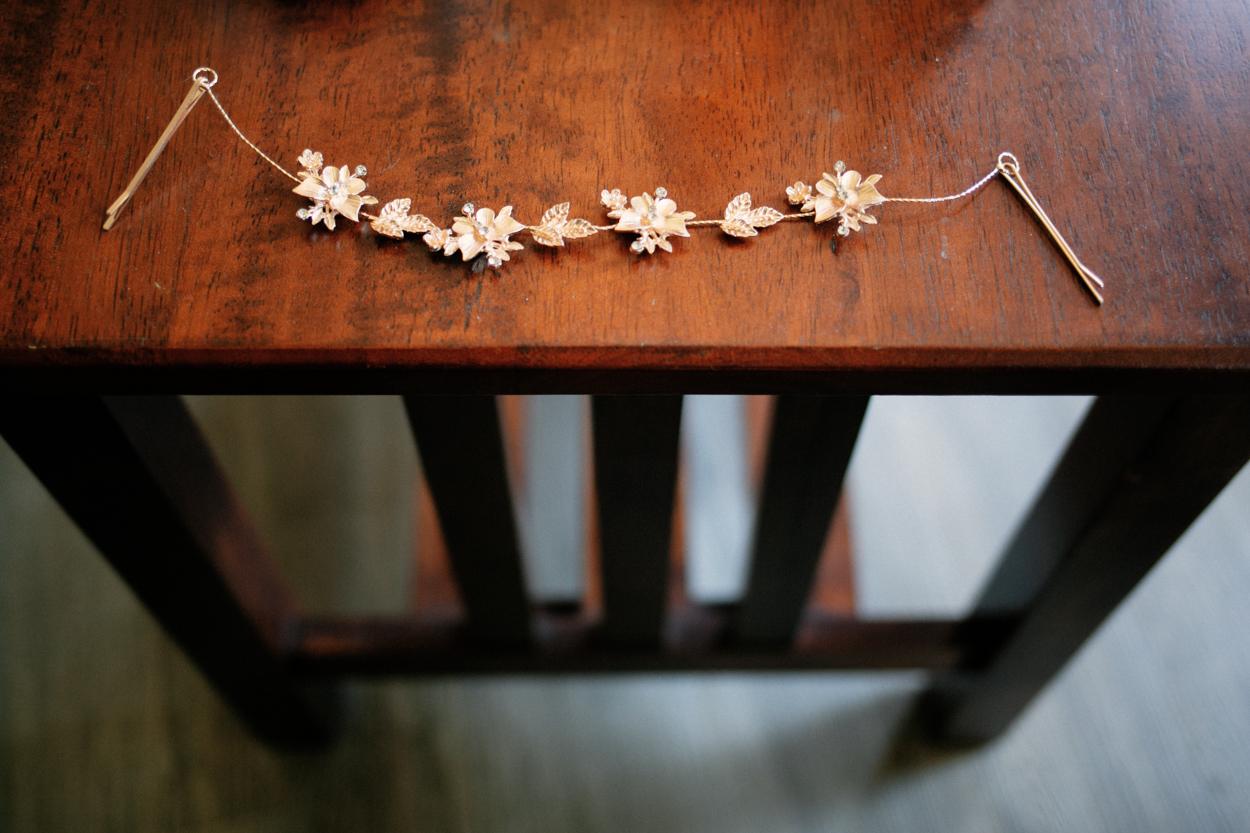 Detail of hair bling, bridal preparation.