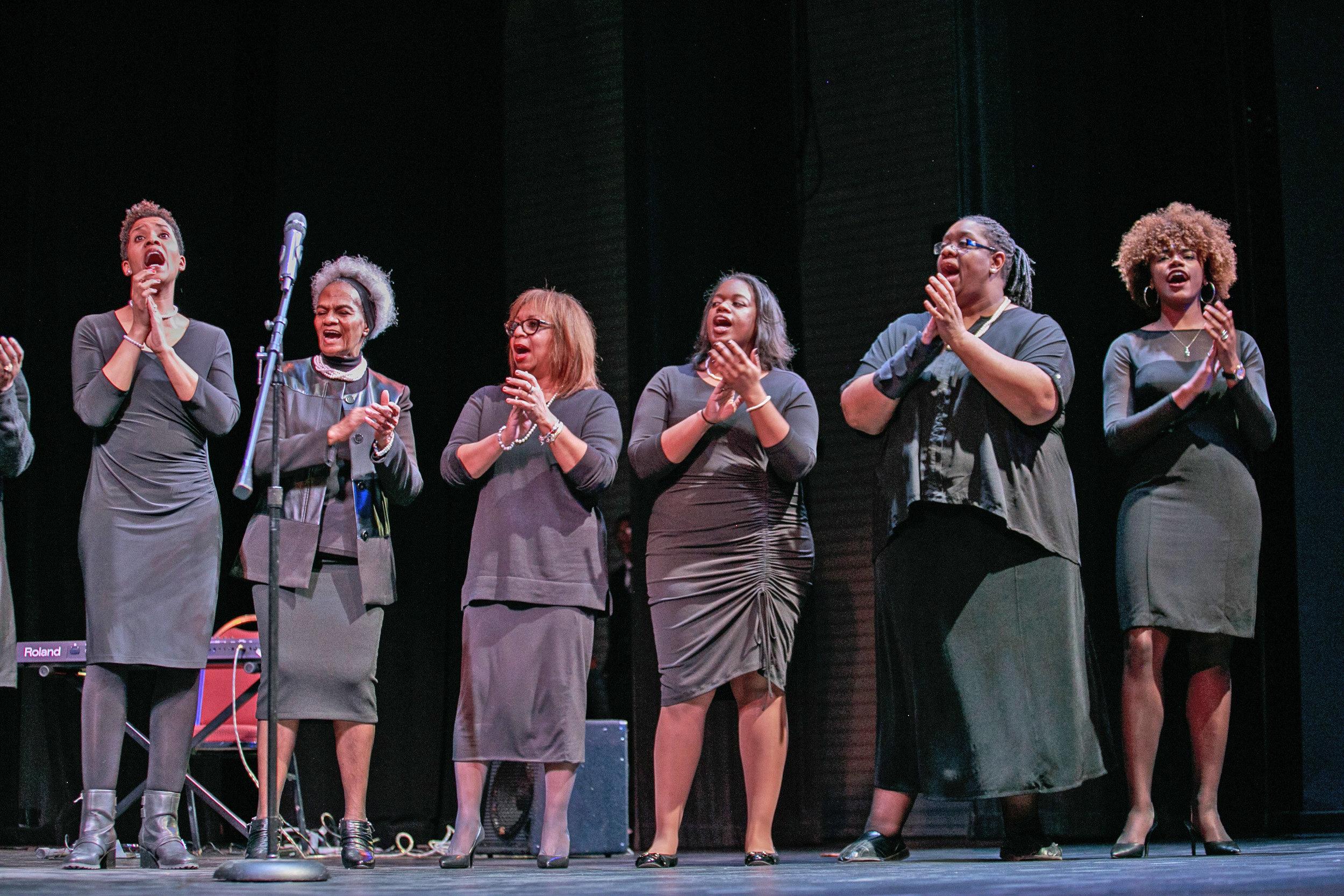 Members of the Macedonia Baptist Church Praise Ensemble. Far right: Simon's Rock junior Arielle King.