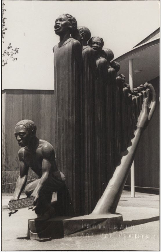 "Carl Van Vechten's photograph of Augusta Savage's sculpture ""Lift Every Voice and Sing"""