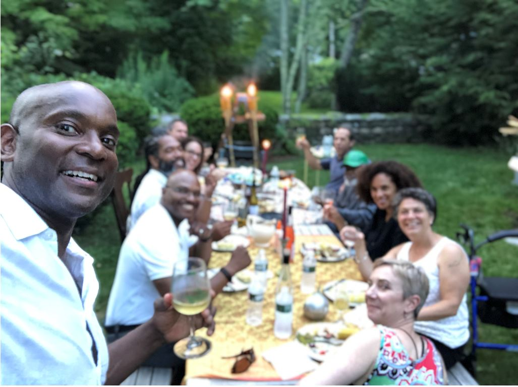 """""""Selfie with Fellows at Five Acres"""" 2019 James Weldon Johnson Fellows in the Arts Welcome Dinner, July 28, 2019, Five Acres, Great Barrington, JAMES WELDON JOHNSON FOUNDATION"""