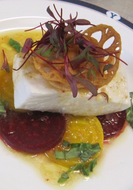 Olive Oil-poached Halibut w Sweet & Sour Beets