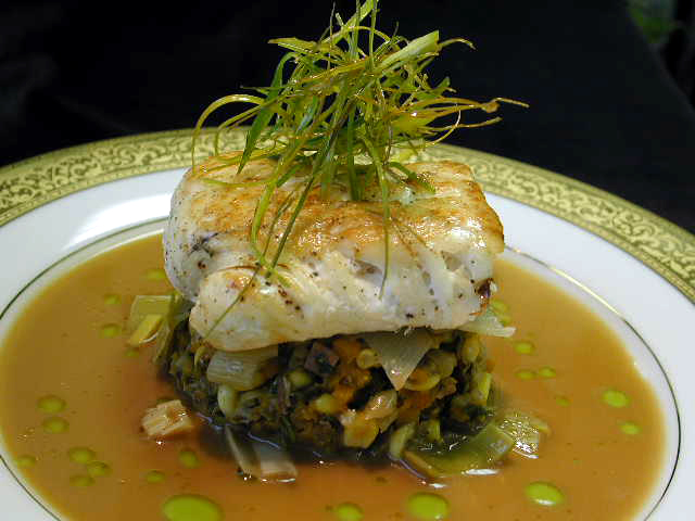 Pan-roasted Wild Halibut w Wild Mushrooms, Leeks, and Green Chard