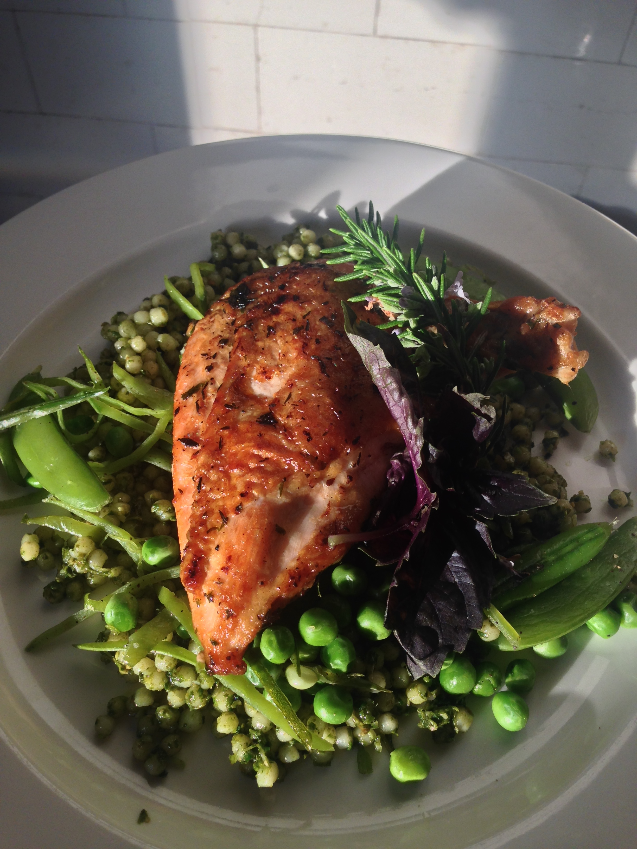 Crispy-skinned Roast Chicken w Mint-buttered Three Peas