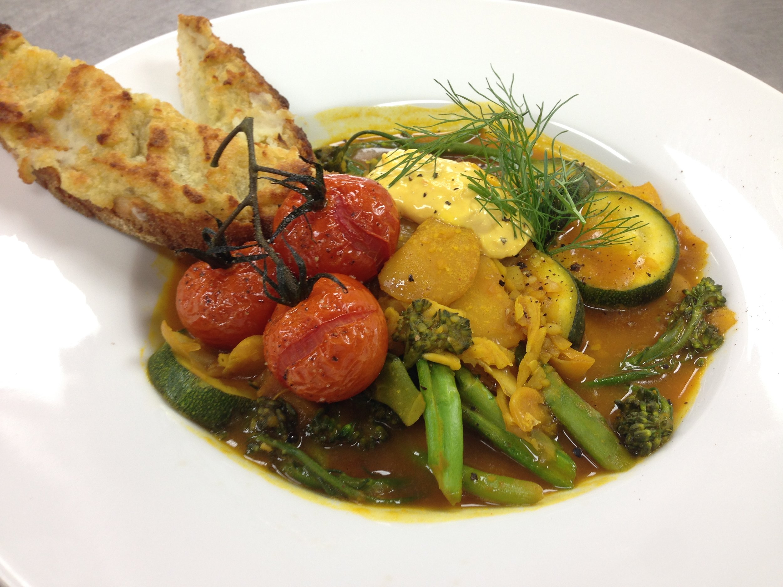 Vegetable Boullaibaisse w Gigante Beans & Fennel-Saffron Broth