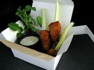 "Boneless ""Wings"" on Celery w Watercress-Gorgonzola Sauce"