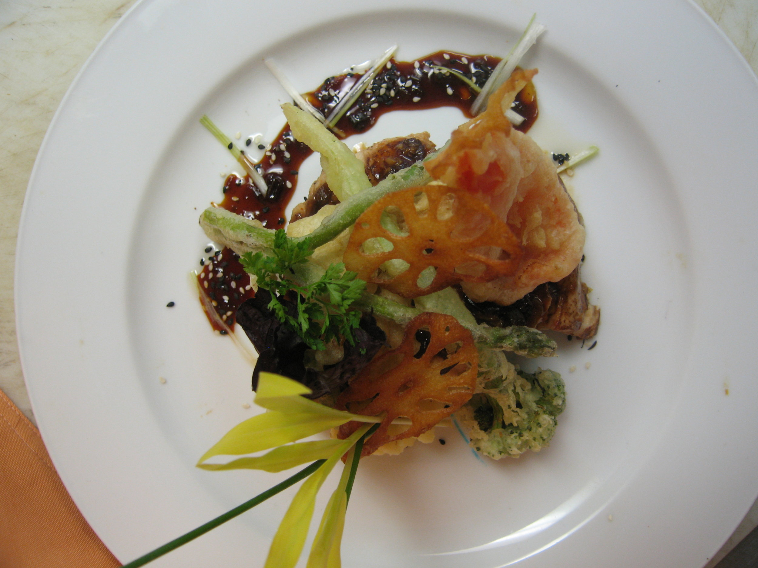 Hoisin-barbecued Sea Bass w Tempura Vegetables