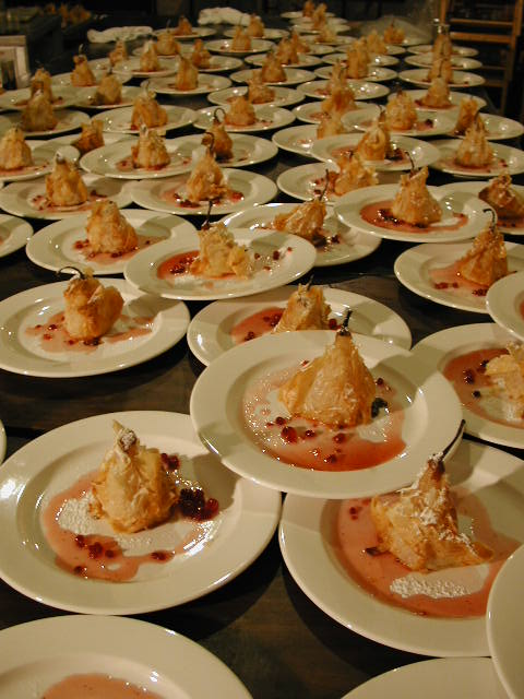 Roasted Bosc Pears w Ginger Mascarpone, Crisp Phyllo, & Lingonberry-Cranberry Coulis