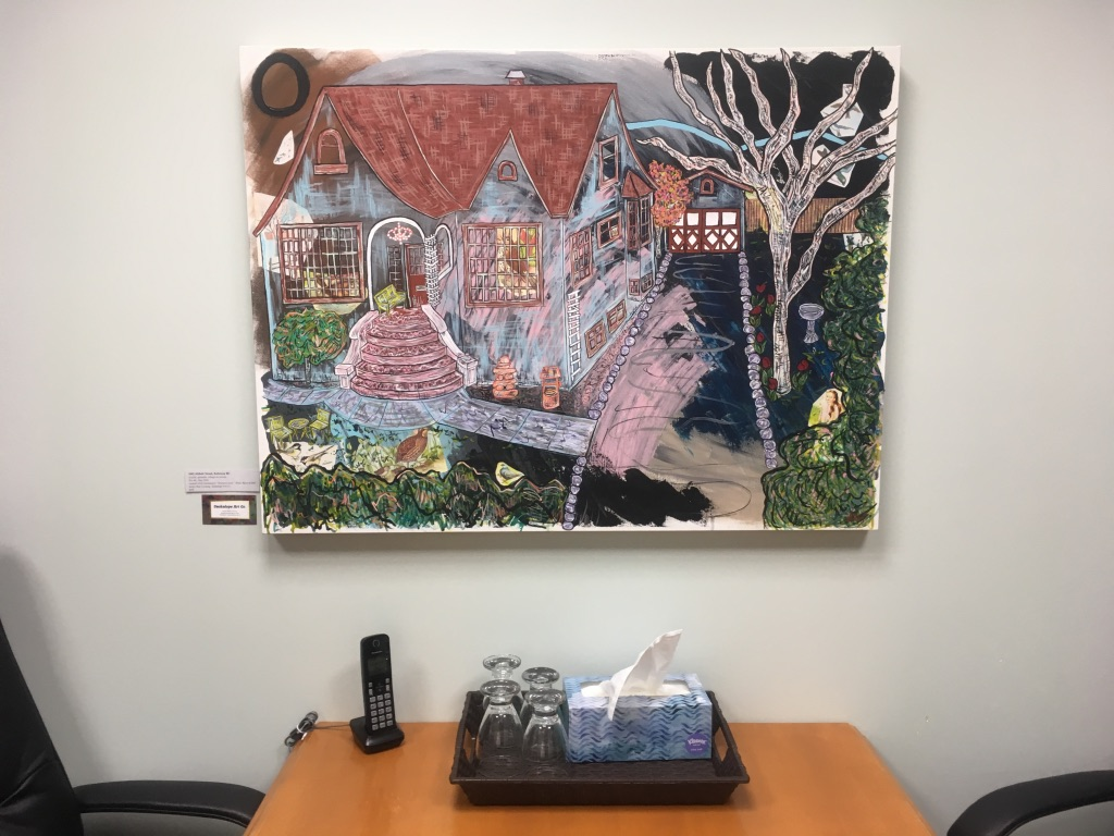 """""""1842 Abbott Street""""mixed media on 30 x 40 deep exhibition canvas $450"""