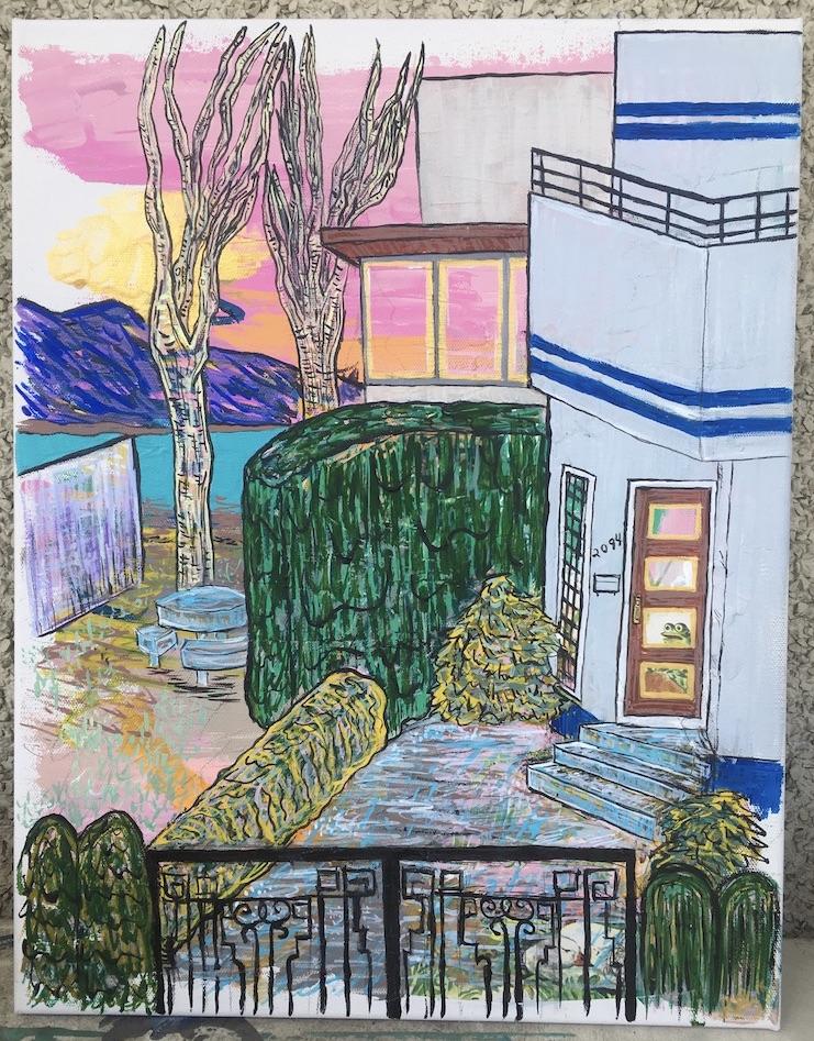 """""""2094 Abbott Street"""" mixed media on 14 x 18 canvas $200"""