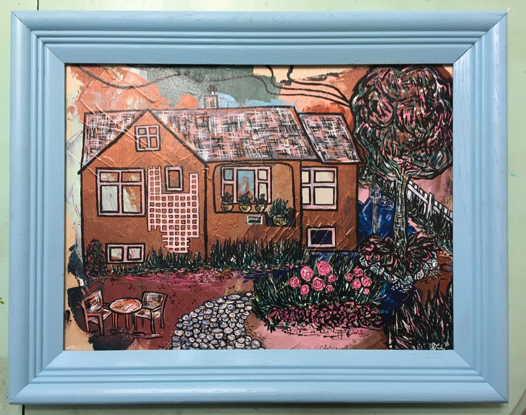 """""""2071 Abbott Street"""" mixed media on 16 x 12 wood panel with frame $325"""