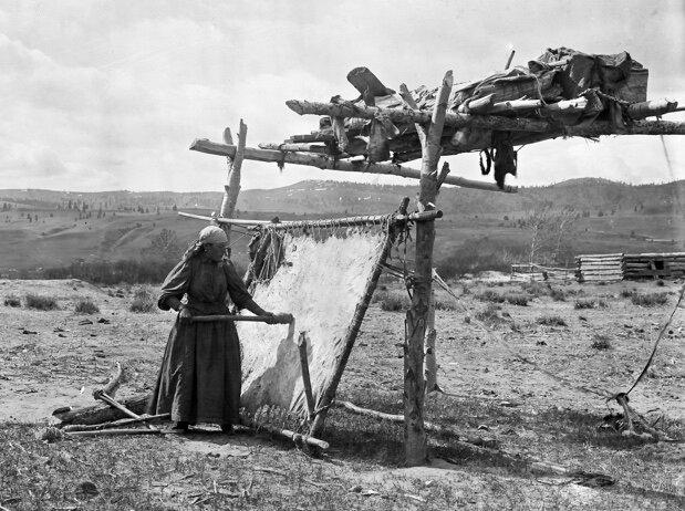 Secwepemc woman scraping hide via American Museum of National History.jpg