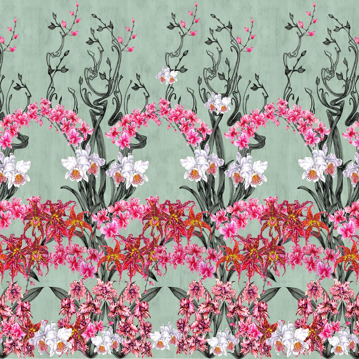 estampa  orquídeas nouveau  para Virgilio Couture
