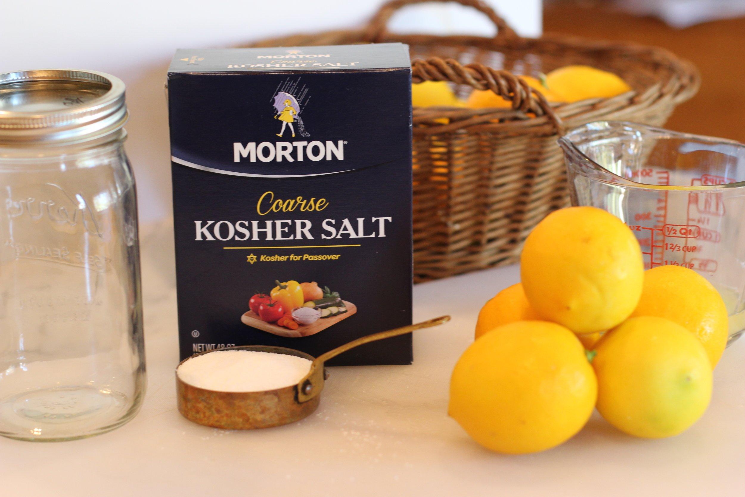 Ingredients - 7 lemons, washed and dried (2 lemon for juicing)1/3 cup kosher salt