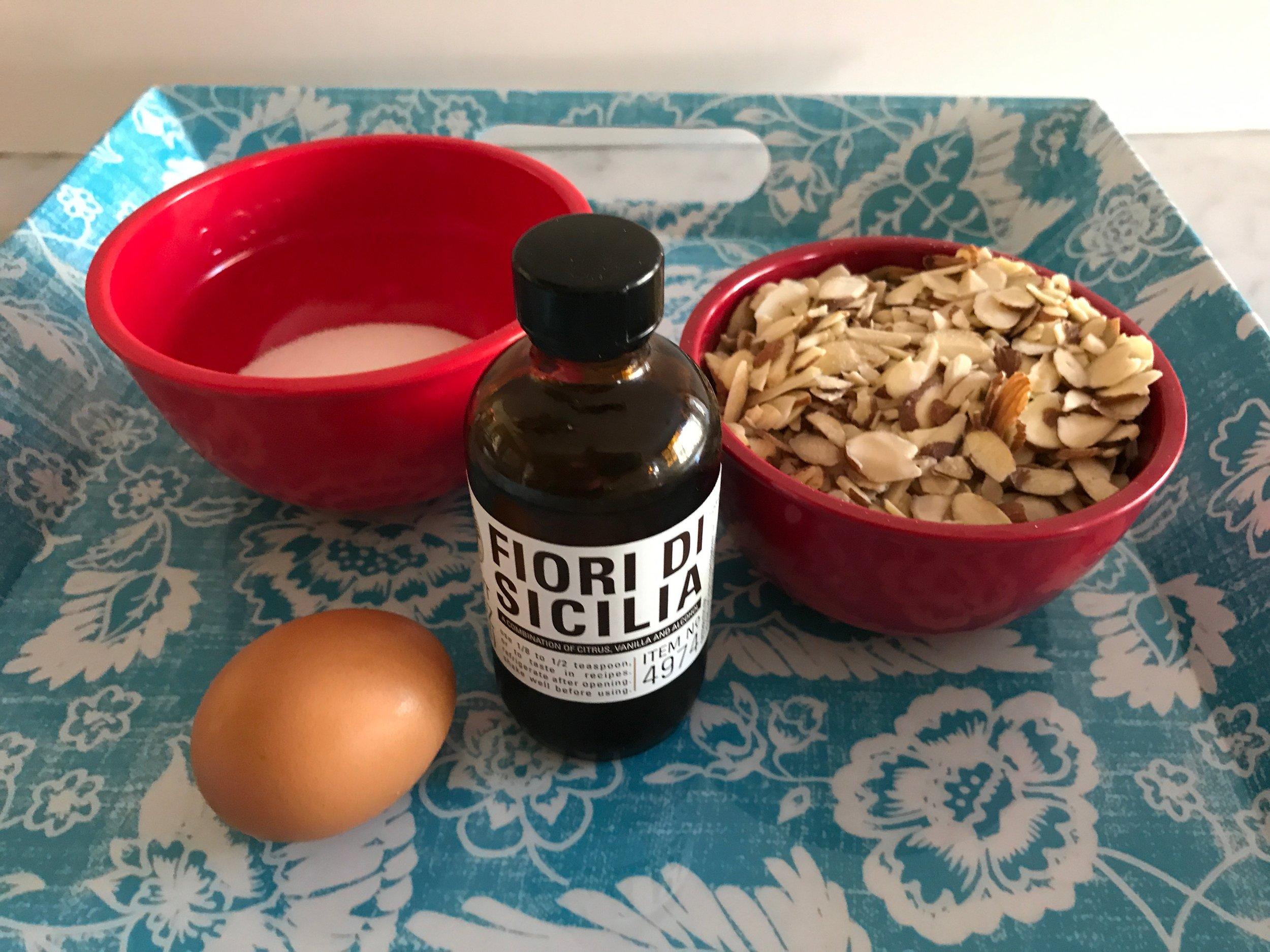 Ingredients - 6T-granulated sugar1 egg1¼ cup sliced almonds½ tsp. fiori di Sicilia