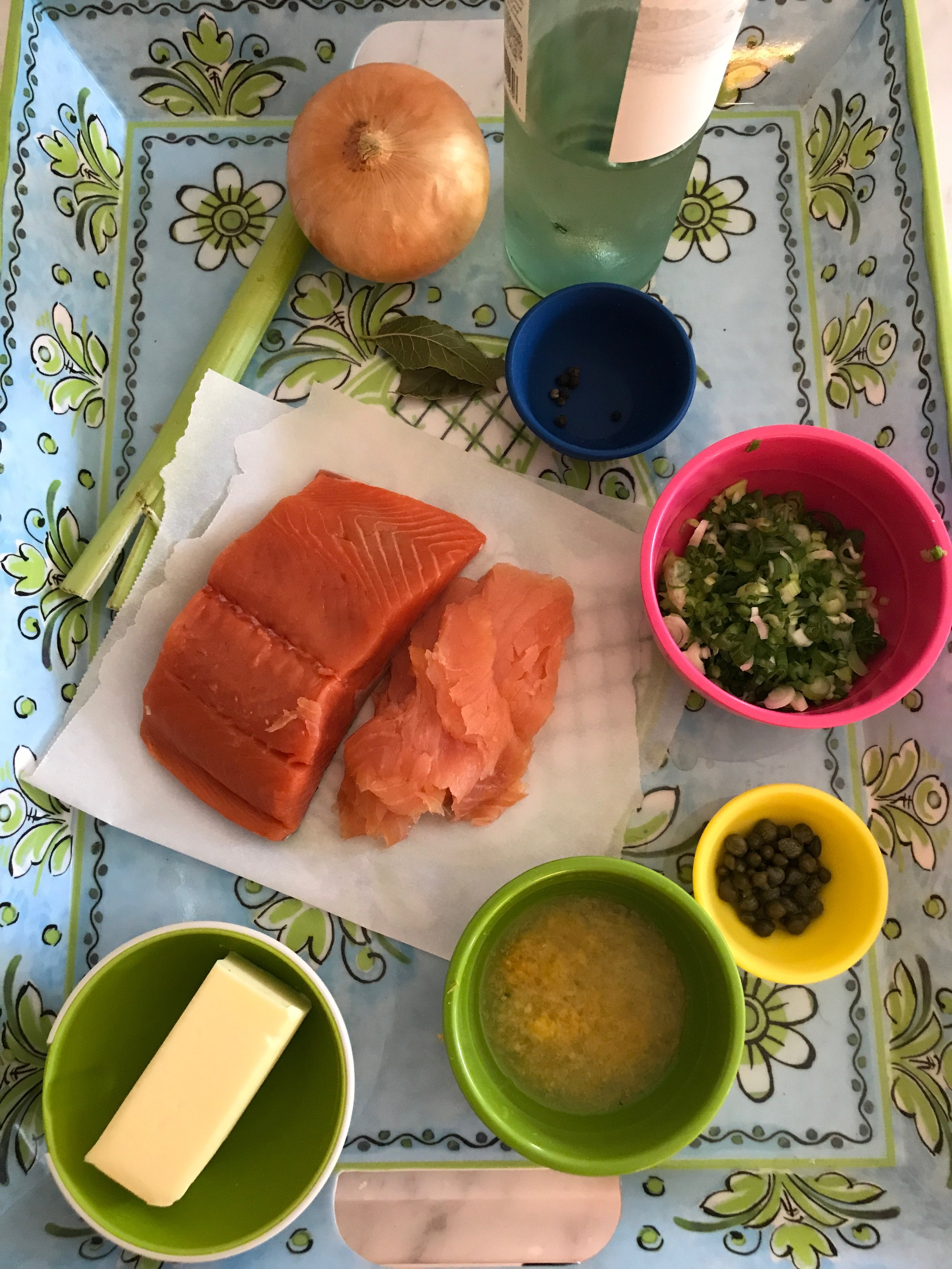 Ingredients - 4 cups water1 cup white wine 1 medium onion cut into ¼ inch pieces1 stalk celery2 bay leaves4 peppercorns½ pound salmon, 1inch thick, skin and pin bones removed¼ pound smoked salmon, cut into small dice3 scallions (green onions), white and green part finely diced1T capers, rinsed2T lemon zest (2 lemons)4T lemon juice5T unsalted butter, softenedCrostini:1 baguette loaf, cut on diagonal into 20 thin slices¼ cup olive oil