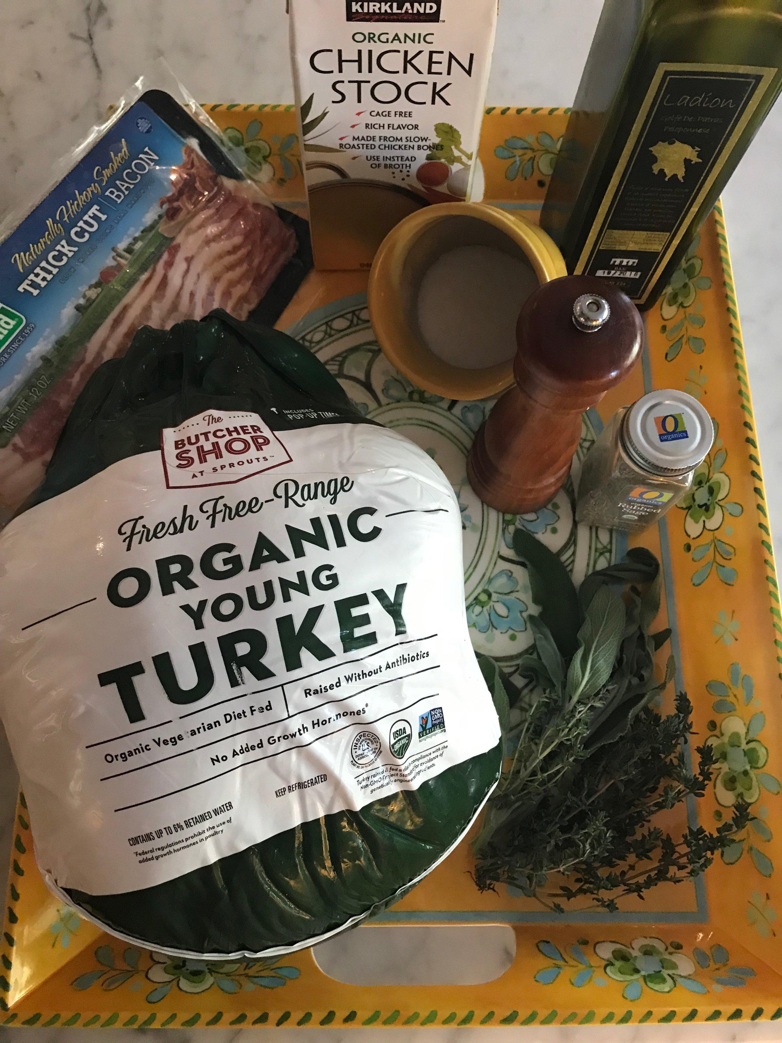 Ingredients - 1 14-16 pound turkey1T dried sage3 tsp. salt1 tsp. black pepper3 slices bacon, cut in halffresh thyme & sage leavesolive oil3 cups chicken stock