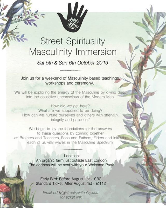MASCULINITY IMMERSION . Calling all men! This one's for you. A super special event just outside London Full or learning and magic like drumming circles, fire workshop and a feast! ➰ @eddyelsey @be_the_seed @chris_conscious_cook . . . . #masculinity #ceremony #londonretreats #menshealth #wellnessevent #boysofyoga #drummingcircle #fireworkshop #retreat #veganlondon #london #shamanism