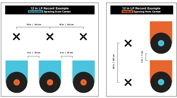 Our record wall measurement guide    includes metric and standard measurement recommendations for your album wall spacing.