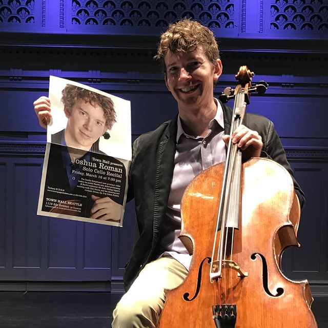 We're back! @townhall_seattle is opening tonight at 7:30, and I'll be leading the celebration with a concert of solo cello music. Here's the poster for my first performance here in the Great Hall twelve years ago. Look at that baby face... Haha.  See you there!  #cello #solo #music #strings #classicalmusic #newmusic #bach @markoconnor_official @markrsummer #penderecki #sharlat @carolineadelaideshaw @lisabielawa #roman #surprise