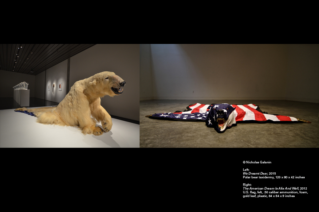 Nicholas Galanin, l to r, We Dreamt Dear, 2015, The American Dream is Alie And Well, 2012. Images courtesy of the artist.