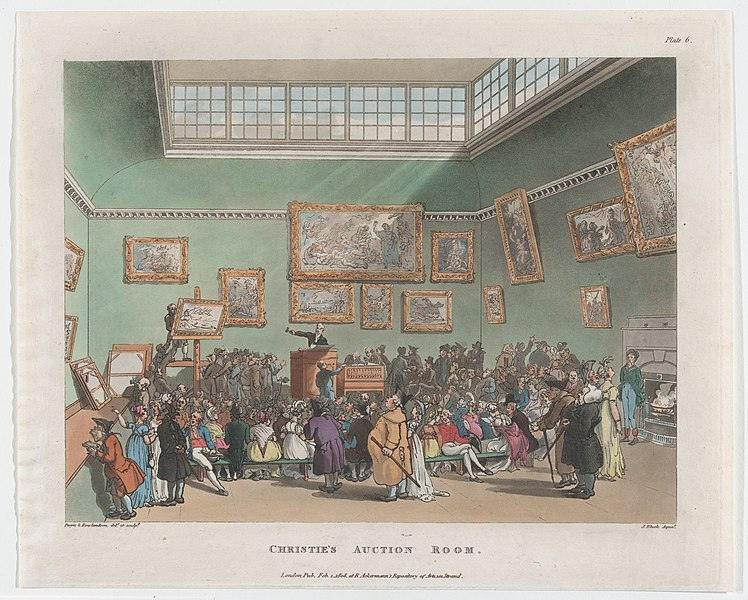 Pugin & Rowlandson delt et sculpt, CHRISTIE'S AUCTION ROOM. / London Pub Feb 1 1808 at R. Ackerman's Repository of Arts 101 Strand. J Bluck Aquat. Collection of Metropolitan Museum of Art.