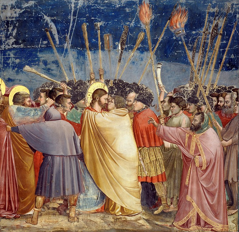 Giotto di Bondone, The Arrest of Christ (Kiss of Judas), between 1304 and 1306. Image courtesy of  Wikimedia .