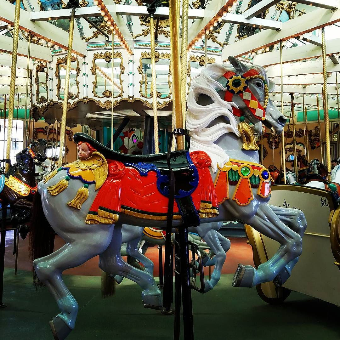 The carousel at the Santa Cruz Beach Boardwalk has a ring toss (rings are thrown into the clown's mouth, which can be seen in the background).