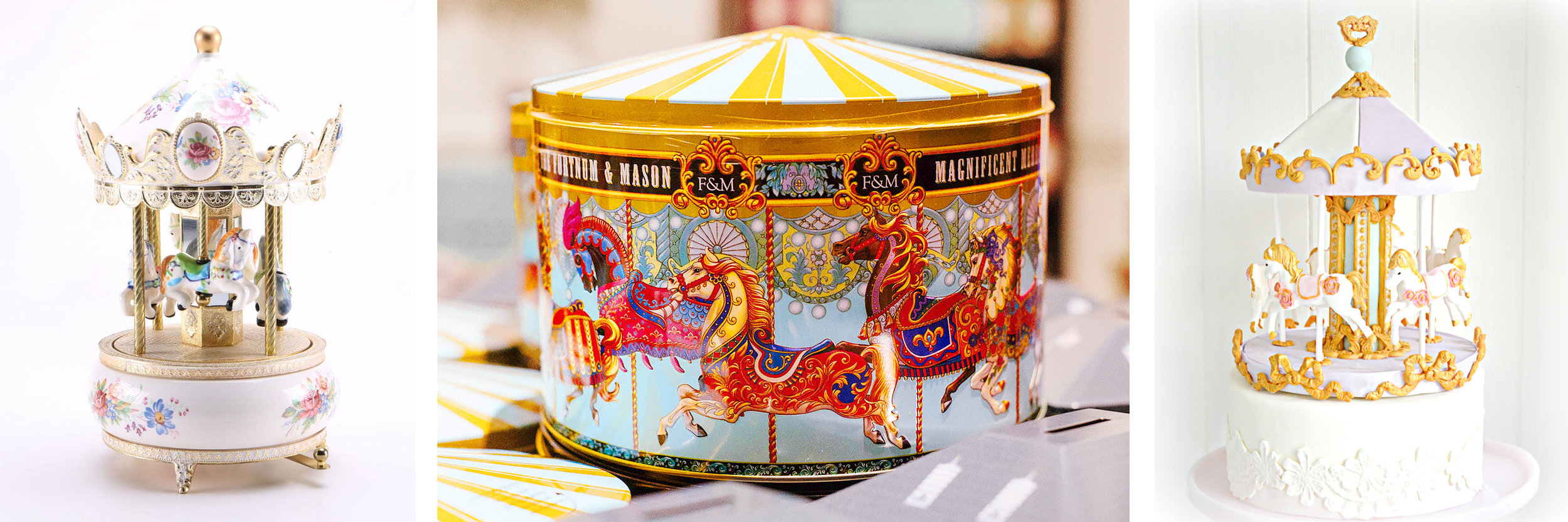 A music box, a Fortnum & Mason biscuit tin, and a cake from  Chérie Kelly