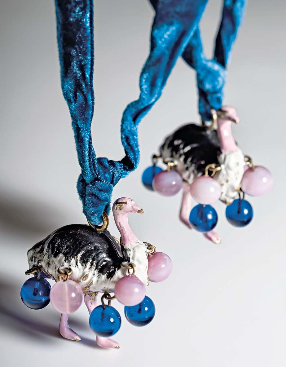 Schiaparelli commissioned these and many other custom pendants and brooches from jeweler Jean Schlumberger, who is best known for his work at Tiffany & Co.