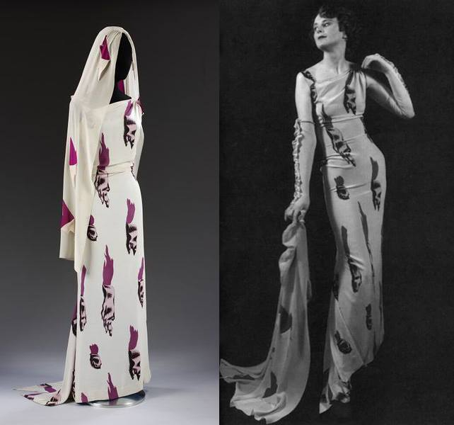 """The infamous """"Tear"""" dress, for which Salvador Dali created the print."""