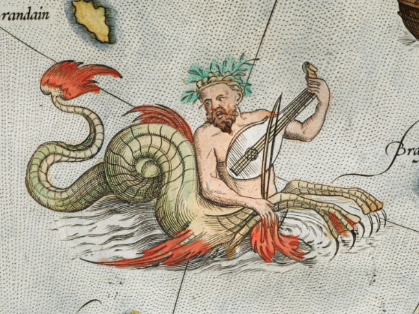 An Ichthyocentaur plays a viol on a map from a 1573 edition of Ortelius's  Atlas Theatrum   Orbis Terrarum.