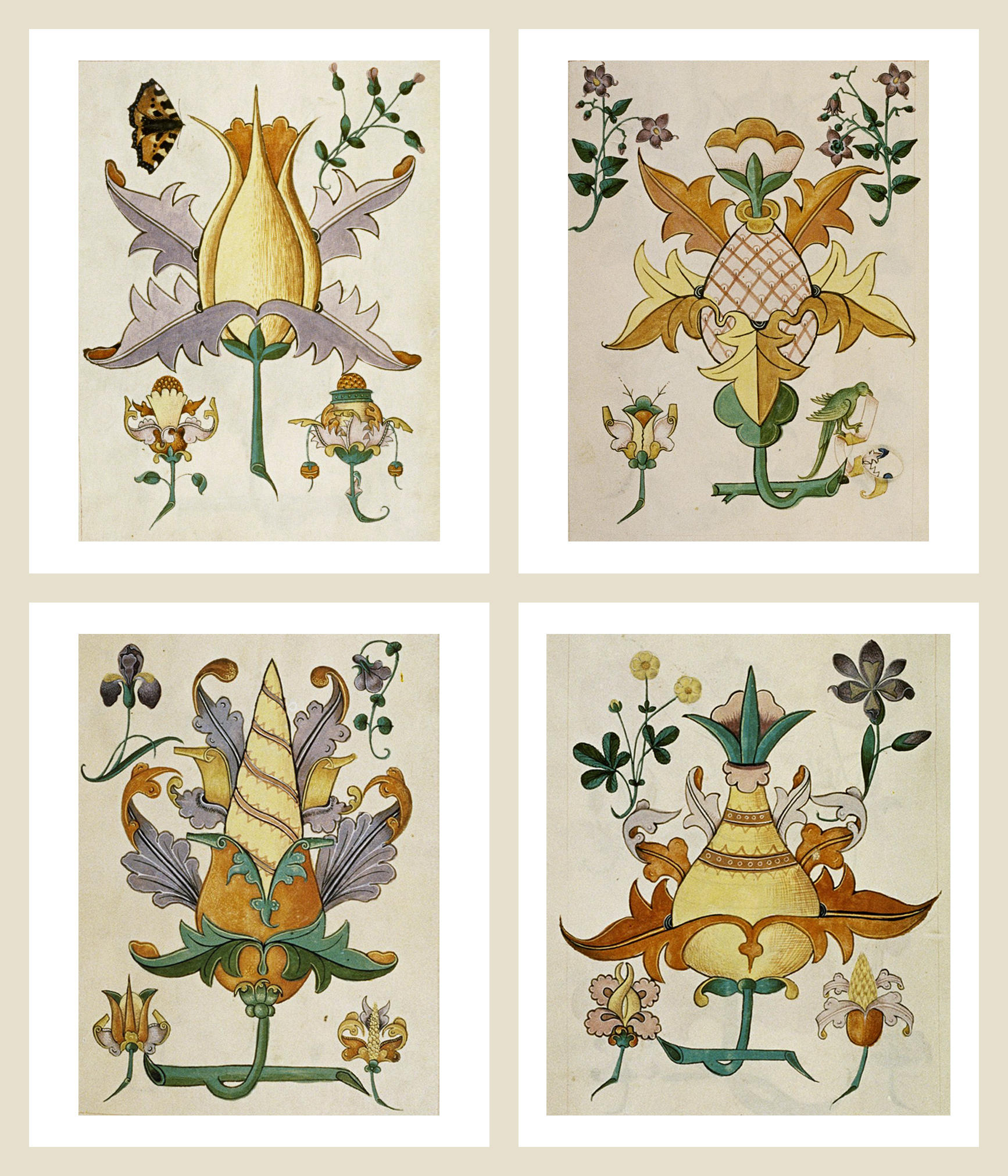 Stylized floral designs from MS. Ashmole's  Tudor Pattern Book , circa 1504.