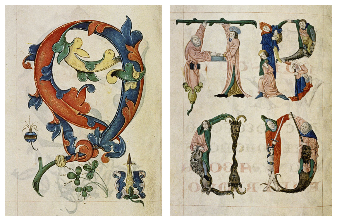 A stylized motif featuring trefoils and an alphabet formed from figures, both from the  Tudor Pattern Book .