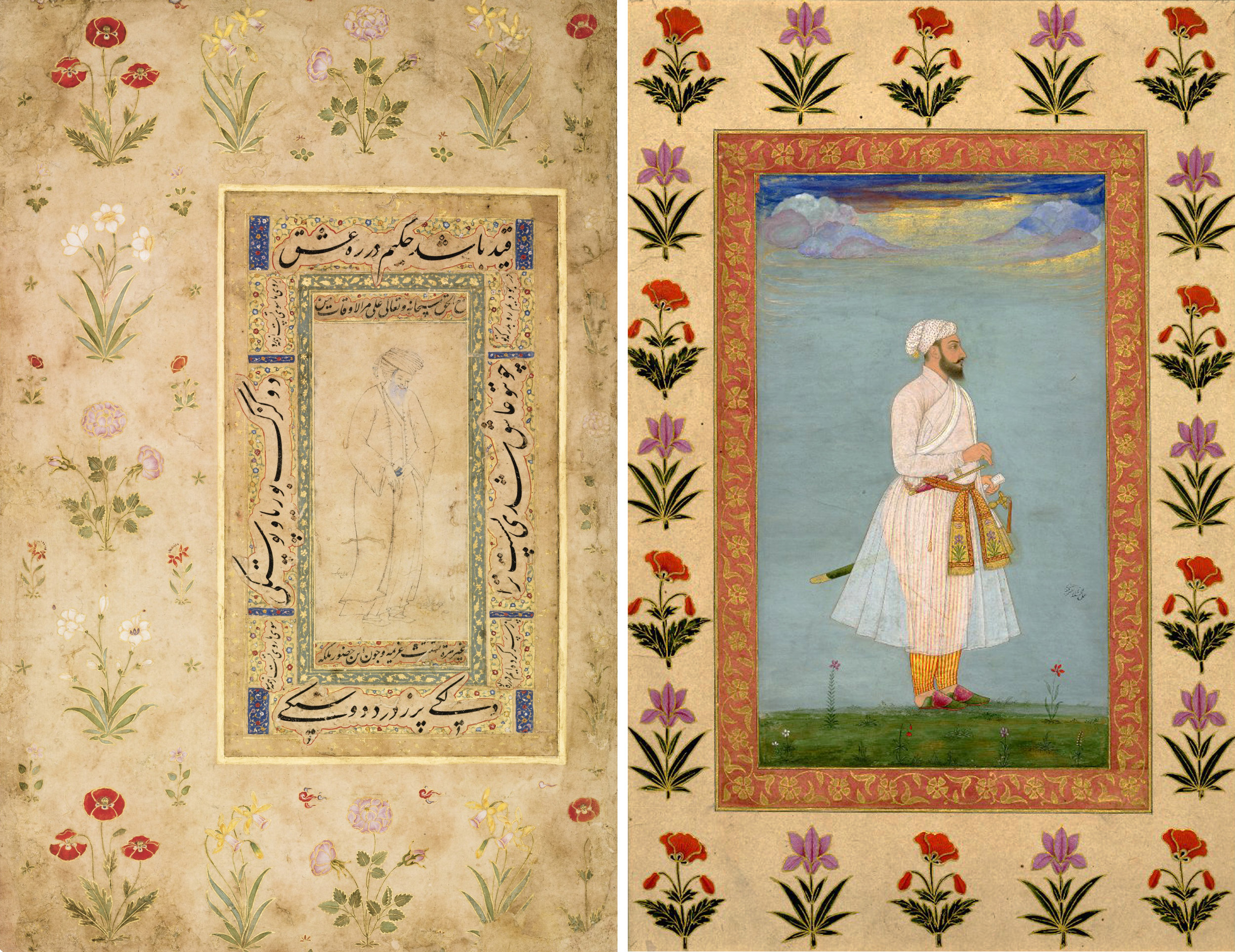 Left:Page with a Safavid drawing from an album made for Emperor Shah Jahan, Persia and India, circa 1625-50, image courtesy of Sotheby's.