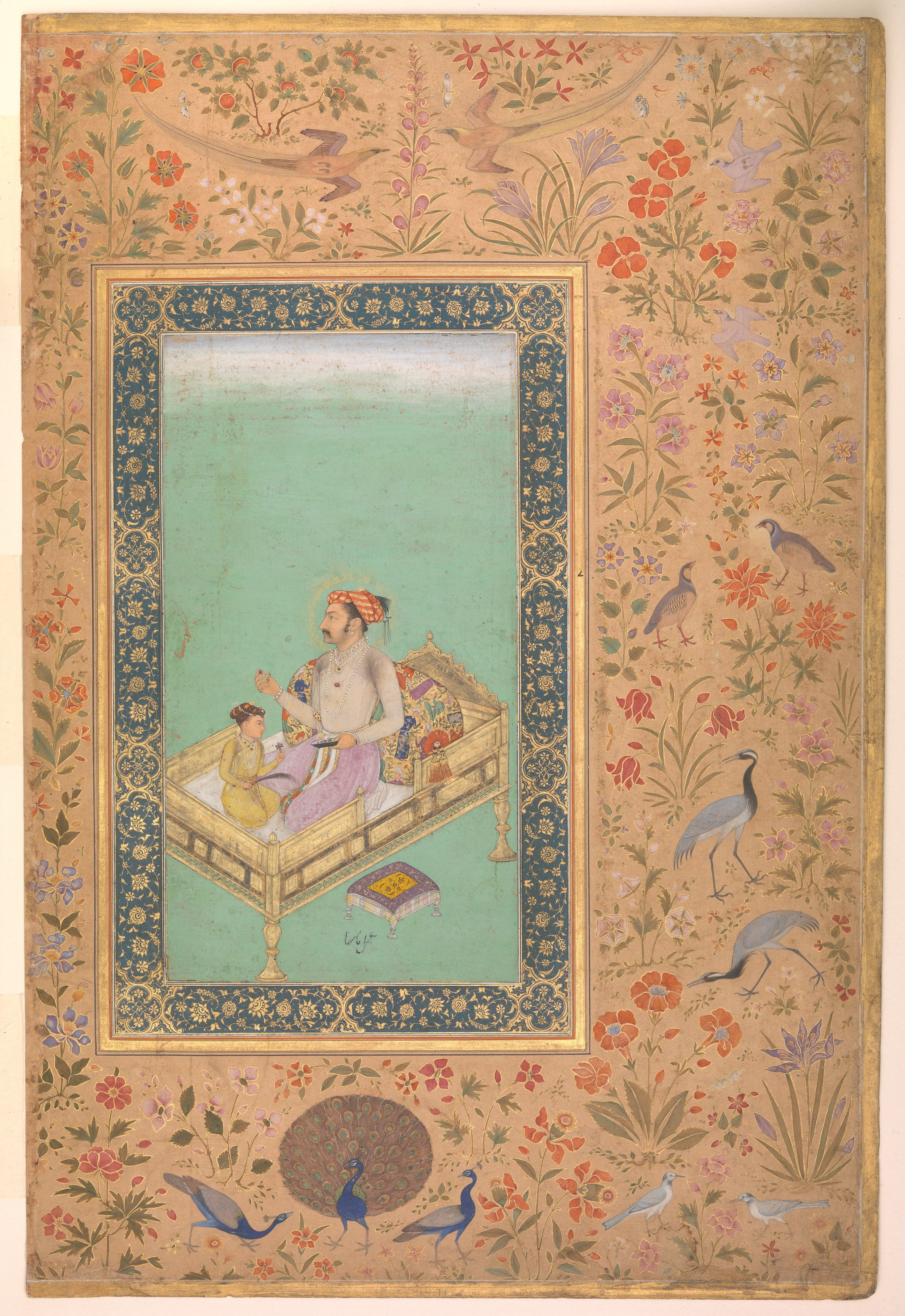 The Emperor Shah Jahan with His Son Dara Shikoh , folio from the Shah Jahan Album, circa 1620. Now a part in the collection of The Metropolitan Museum of Art.